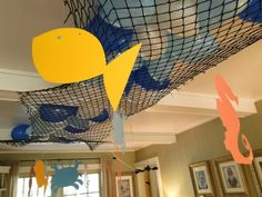 "under the sea party - balloons in net: let balloons drop on top of kids during party, put hidden ""treasure"" in them - kids need to pop them to get the treasure"