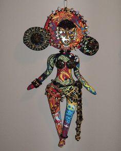 Mardi Gras beaded doll
