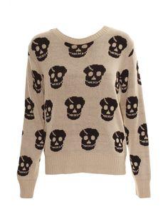 Cream Knitted Skull Jumper