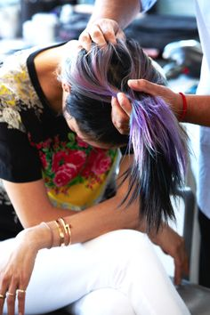 Mermaid hair *underneath* regular color -- cool and subtle way to rock this trend. Love it.