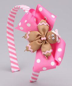 Pink Gingerbread Bow Headband Set