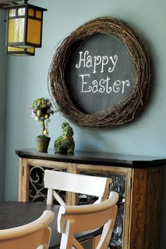 love this chalkboard idea. Change it for every season. I would also add decoration to the wreath.