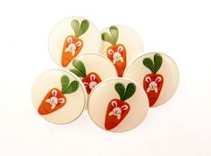 6 Easter Buttons.  Bunny In Carrot  SHANK sewing by buttonsbyrobin, $13.99 carrot shank, handmad button, easter button, children button