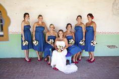 summer bridesmaids dressed in blue