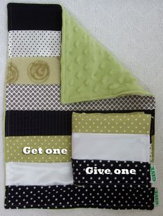 Baby Sensory Security Blanket Lovey -splash of green - Get one, Give one to babies in Kenya, Africa, $30.00