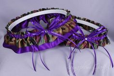 Purple Wedding Garters | Wedding Garter Set in Purple & Camo Print Satin with Crystals ...