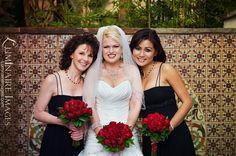 bridesmaids, wedding dressses, lobbi, dresses, bouquets, wedding dress styles, red roses, hotel, blog