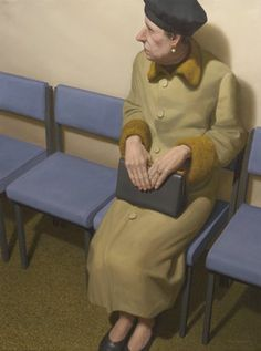 """""""All dressed up to wait in hospital for some news."""" Oil Painting by Ron Francis."""