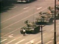 Unforgettable images of a young man who stood in front of a tank in Tiananmen Square, China in 1989.