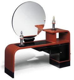 AN ART DECO RED AND BLACK PAINTED DRESSING TABLE