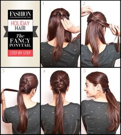Holiday Hair tutorial fancy ponytail step-by-step