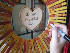 Thanksgiving clothes pin wreath...another fun version of keeping track of thankfulness during Nov.