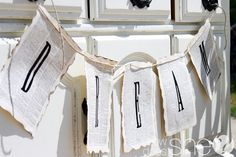 Love this decor with book pages!