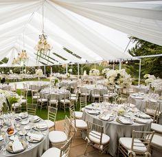 White Tented Reception // Photo: Samuel Lippke Studios and Allan Zepeda // Wedding Planning: Details Details // TheKnot.com