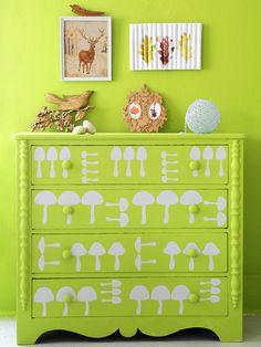idea, craft, mushroom dresser, color, old dressers, kid rooms, furnitur, diy projects, mushrooms