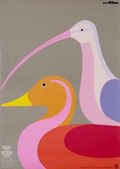 beaches, color, duck, poster, bird prints, 1970s, bird art, place, design