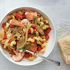 Cavatappi with Salmon and Wilted Fennel | Cooking Light #myplate #protein #veggies