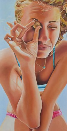 """Sivan With a Shell"" - Nava Abel; Israel {contemporary figurative artist beautiful blonde female head torso swimsuit woman face portrait painting} Scrutinizing !! navaabel.com"
