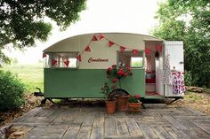 This vintage 1950s caravan called Constance has found a permament home at the bottom of its owners' garden. Resprayed in Brighton Seafront green and kitted out with retro vinyl, linoleum and crochet rugs it doubles as a styish garden campout and rather grand playhouse for the kids. playhous, camper, vintage trailers, 1950s, crochet rugs, backyard, garden, the road, kid