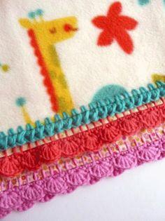 crochet edging on a fleece blanket