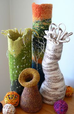 group of felted vessels by clarefen, via Flickr artsi fartsi, felt vessels, hands, crochet vessels, cakes, cake stands, felt idea, fiber art, the one