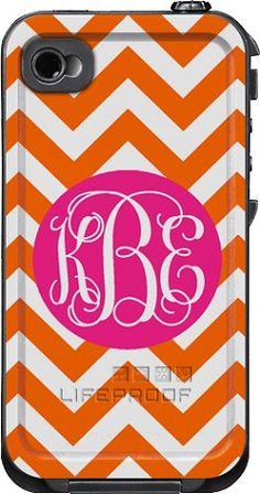 phone case- white case, orange pattern, navy circle, white initials in script monogram