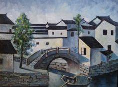 Hand Oil Painting Landscape, Canvas Painting , Impasto Contemporary,Zhouzhuang Town Series 40×50 cm, Unframed Original Artwork