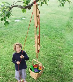 Pulley Set with Wooden Reels and Nylon Ropes