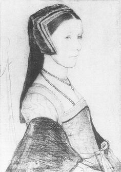 A sketch of Anne Cresacre, circa 1526-27. By Hans Holbein the Younger. Anne Cresacre was a ward of Sir Thomas More and his second wife, Alice Middleton. Anne eventually married More's son, John.