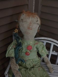 Christmas Doll Primitive Doll Primitive Rag Doll by mustardseed