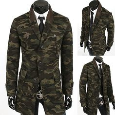 Camouflage Military Men Slim Fit Trench Coat | Sneak Outfitters