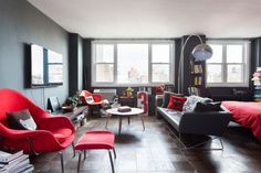 perfect decor, books, chairs, dark walls, apartments, jessica walsh, studio living, design, stylish live