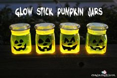 halloween parties, glow sticks, jar crafts, halloween night, stick pumpkin, dark pumpkin, halloween pumpkins, pumpkin jar, glow in the dark mason jars