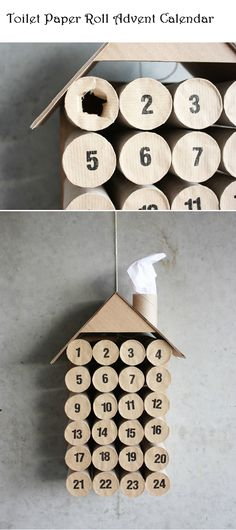 holiday, diy toilet paper rolls, idea, crafts and diy, calendrier de l'avent, advent calendars, christma, kid, roll advent