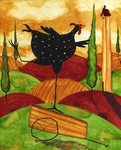 Hubbs Children Art Folk Prints Whimsical Funny Chicken. $25,00, via Etsy.