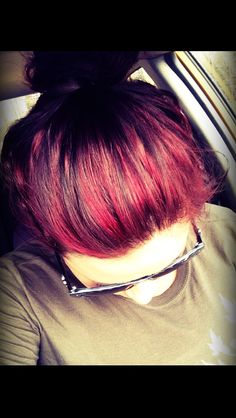 Red highlights and low lights. Red hair. Maroon hair .