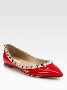 Valentino Rockstud Patent Leather & Leather Ballet Flats