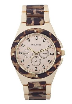 Animal Print and rhinestone embellished watch (original price, $24) available at #Maurices