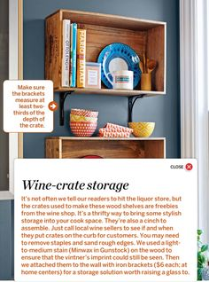 Wine crate shelves DIY