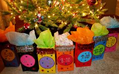 New Years Eve Countdown Bags...Fill with noisemakers, beads, candy, money toys. Open one every hour!!
