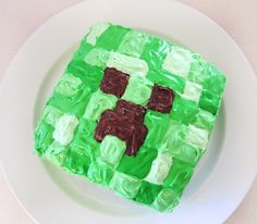 Minecraft Creeper cake I made for the lads' 13th.