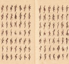 """""""Nüshu (literally """"women's writing"""" in Chinese) is a syllabic script created and used exclusively by women in the Jiangyong County in Hunan province of southern China. Up until the late Qing Dynasty (1644-1912) women were forbidden access to formal education, and so Nüshu was developed in secrecy as a means to communicate. Since its discovery in 1982, Nüshu remains to be the only gender-specific writing system in the world."""""""