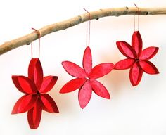 Stain Glass Poinsettias made out of coffee filters and toilet paper rolls