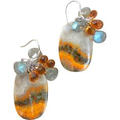 Yellow Picture Jasper and Citrine, Labradorite Landscape Earrings from Gemlynn on Ruby Lane