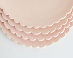 Petal pink scalloped dishes <3   by vesselsandwares on Etsy