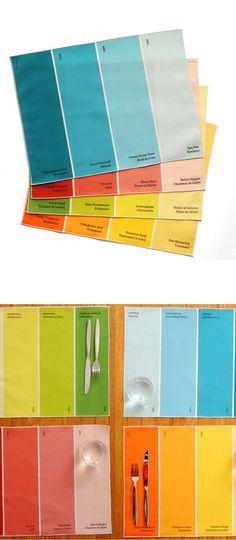 decor, chips, chip placemat, placemat multi, multi 4pk, paints, design, color scheme, paint chip