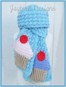 A Cute Cupcake Scarf, freebie pattern for scarf and applique, thanks so xox