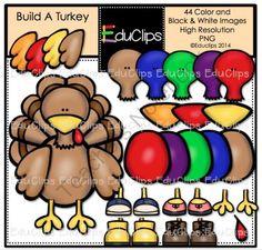 Build A Turkey Clip Art Bundle from Educlips on TeachersNotebook.com -  (44 pages)  - Build A Turkey Clip Art Bundle