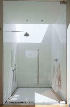 Inside outside shower interior, shower heads, floor, subway tile, outdoor showers, bathrooms, sky lights, bathroom showers, dream shower