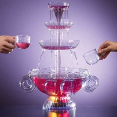 Lighted 1-Gallon 3-Tiered Punch Bowl Party Fountain with 8 Cups